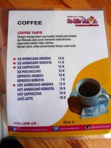 menu kopi