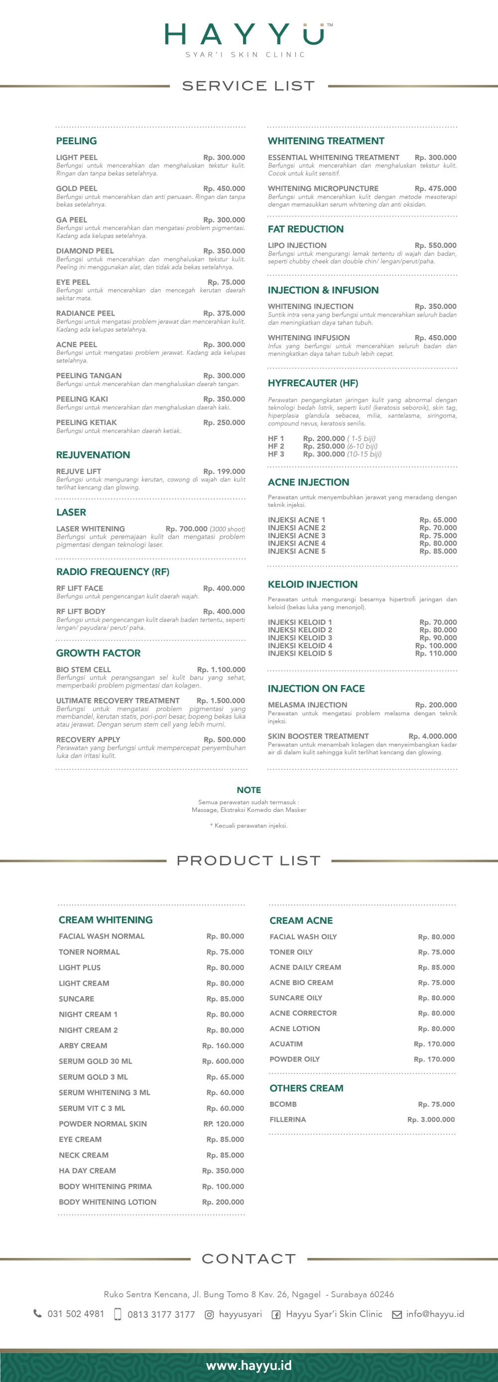 HAYYU Syar'i Skin Clinic- PRICE LIST - 27 April 2017