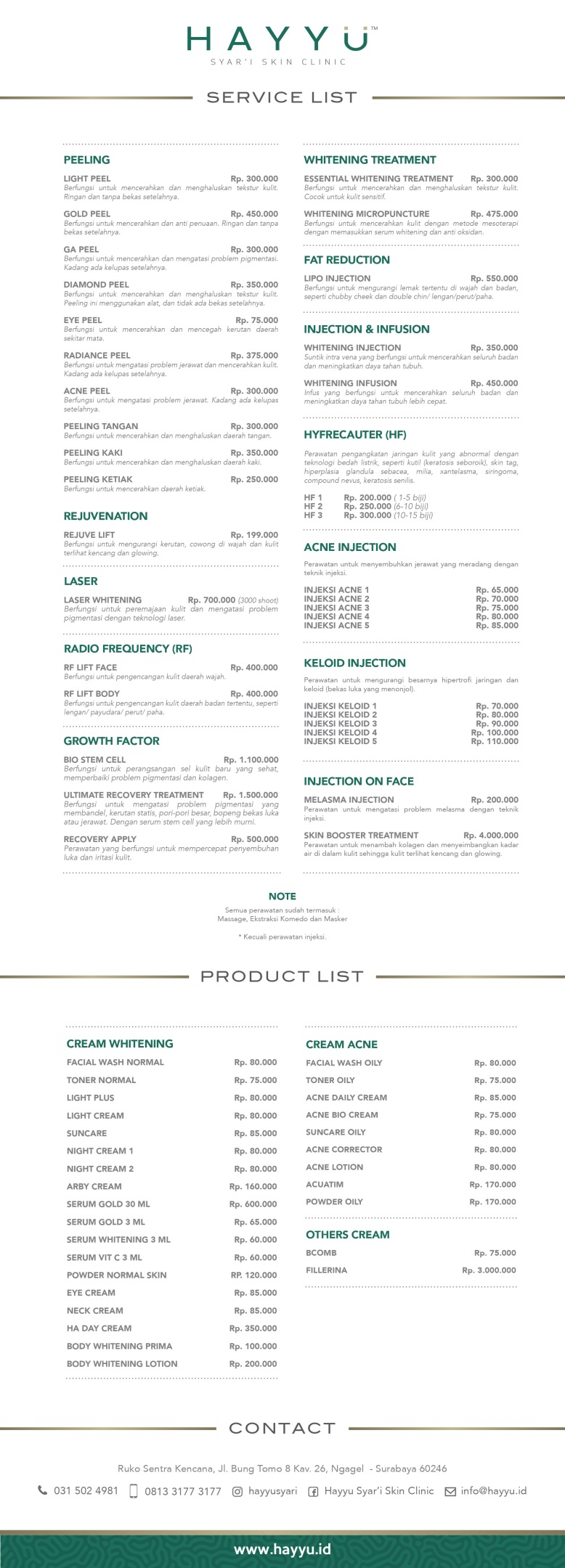 HAYYU Syar'i Skin Clinic- PRICE LIST - 27 April 2017